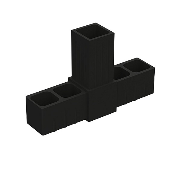 T TYPE 3 WAY CONNECTOR 20x20, BLACK